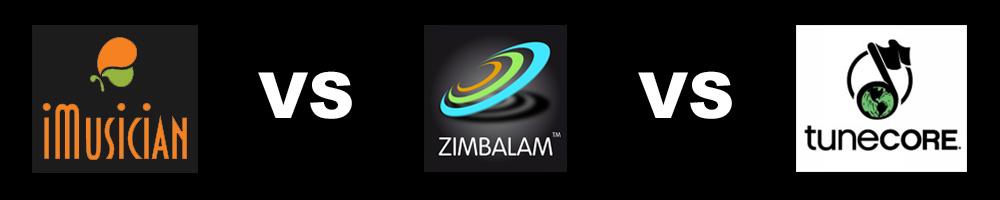 Comparaison Zimbalam vs imusician vs Tunecore
