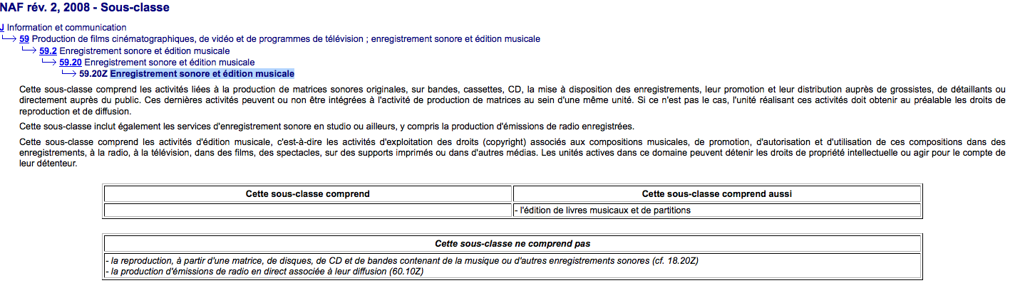 INSEE CODE APE NAF 59.20Z