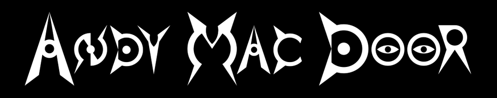 Andy Mac Door - Official Logo - white ON black - 1000x199