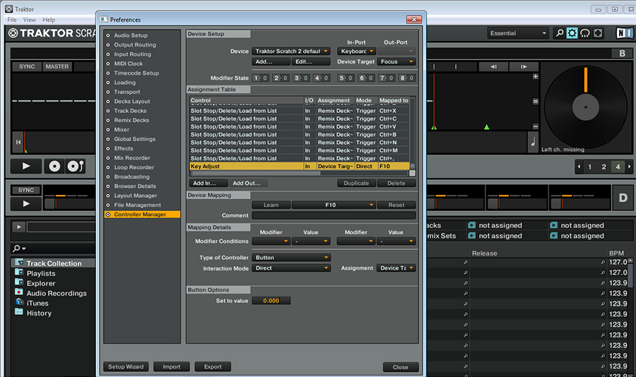 traktor set value key adjust